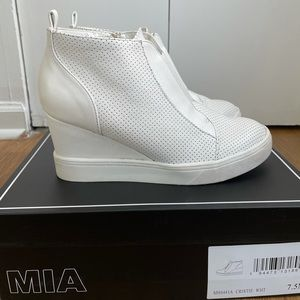MIA White Sneaker Wedges